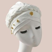 Sombrero turbante trenzado con cuenta