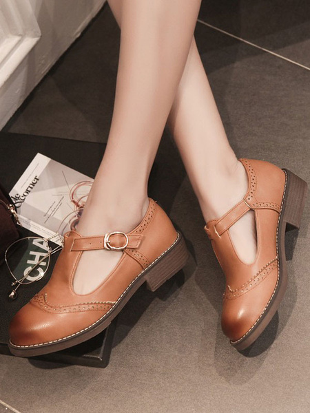 Milanoo Lolita Pumps Shoes Flat Brogue Shoes