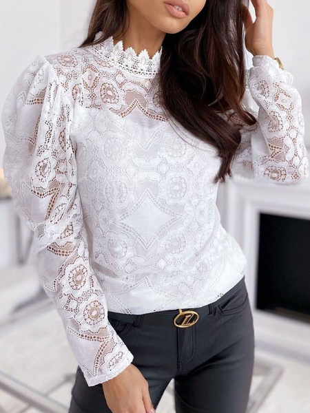 Milanoo Shirt For Women White Cut Out Jewel Neck Sexy Long Sleeves Lace Tops