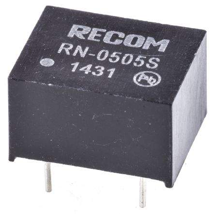 Recom RN 1.25W Isolated DC-DC Converter Through Hole, Voltage in 4.5 → 5.5 V dc, Voltage out 5V dc