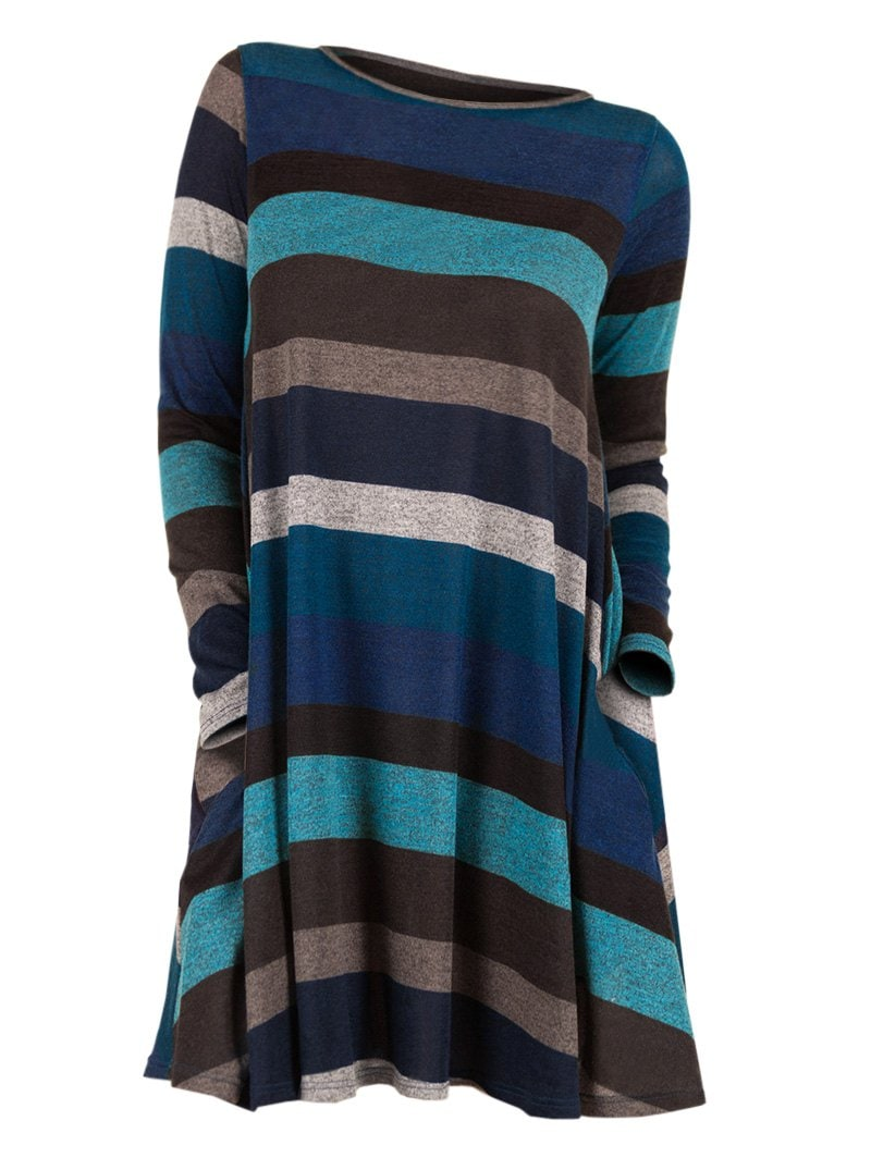 Striped Long Sleeve Longline Knitwear
