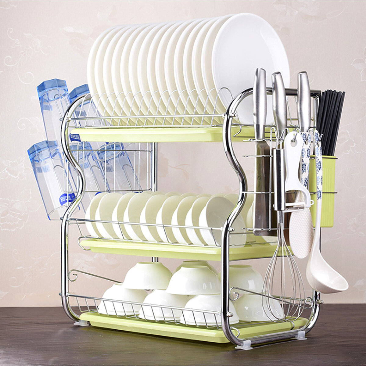 3 Tier Stainless Steel Kitchen Sink Dish Rack Cup Drying Drainer Tray Cutlery Holder Counter Organizer Stor