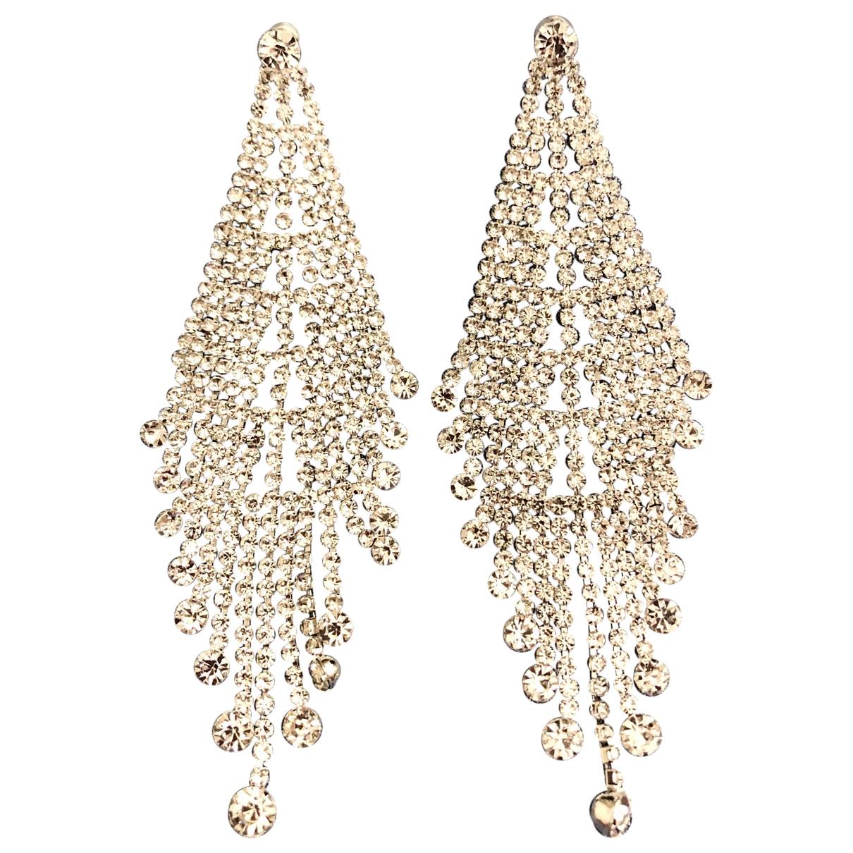 - Boucles doreilles   pour femme en cristal - argente