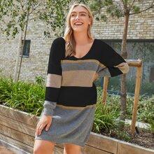 Pullover Kleid mit V Kragen und Farbblock
