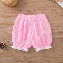 Pink Rueschen Bluemchen Laessig Kleinkind Maedchen Shorts