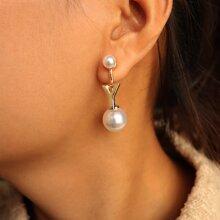 Faux Pearl Letter Decor Earring Jackets