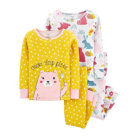Carter's Toddler Girls 4-pc. Pajama Set, 3t , Yellow