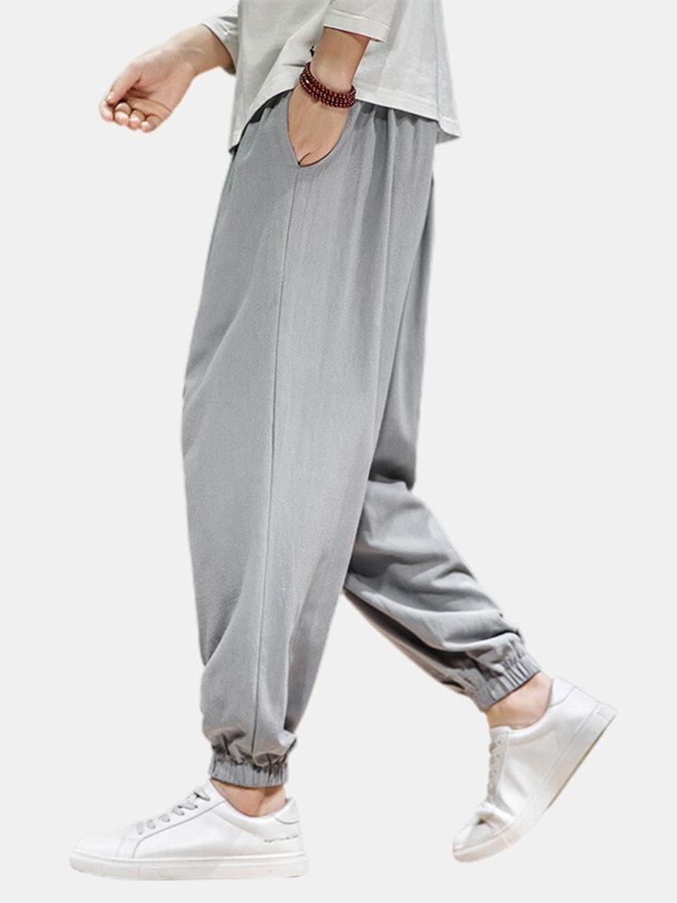 Mens Drawstring Elastic Ankle Linen Breathable Casual Loose Harem Pants