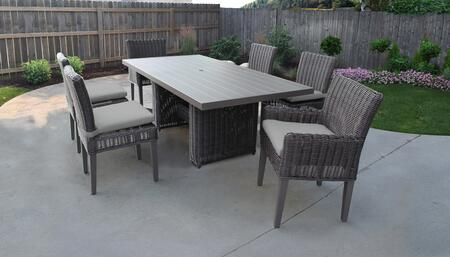 Venice Collection VENICE-DTREC-KIT-4ADC2DCC-GREY Patio Dining Set With 1 Table  4 Side Chairs  2 Arm Chairs - Wheat and Grey