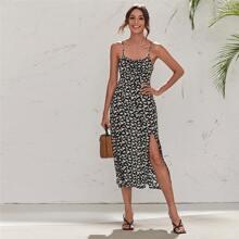 Cami Kleid mit Schlitz am Saum, Band vorn und Gaensebluemchen Muster