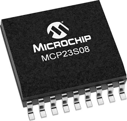 Microchip MCP23S08T-E/SO, 8-Channel I/O Expander 10MHz, SPI, 18-Pin SOIC (1100)