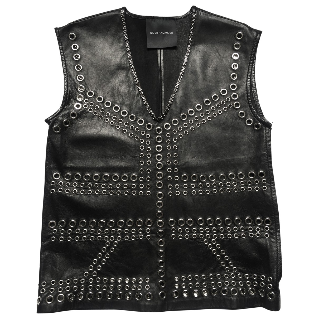 Nour Hammour \N Black Leather  top for Women 38 FR
