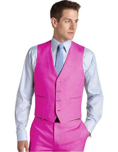Matching Waistcoat Wedding ~ Prom Vests & Flat Front Pants Set Fuschia