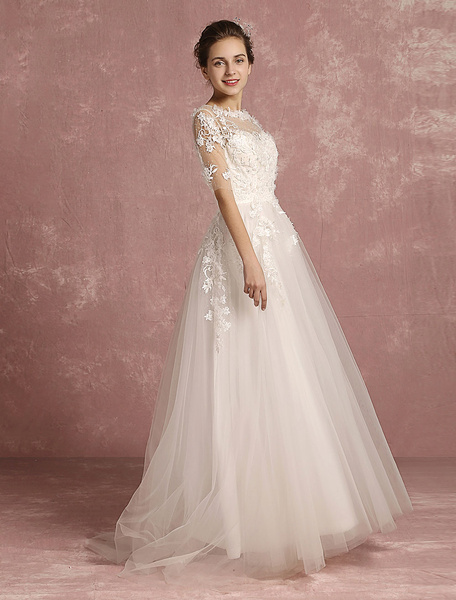 Milanoo Summer Wedding Dresses 2020 Beach Applique Flower Beaded Bridal Gown Tulle Illusion Round Neck Half Sleeve A Line Bridal Dress With Train
