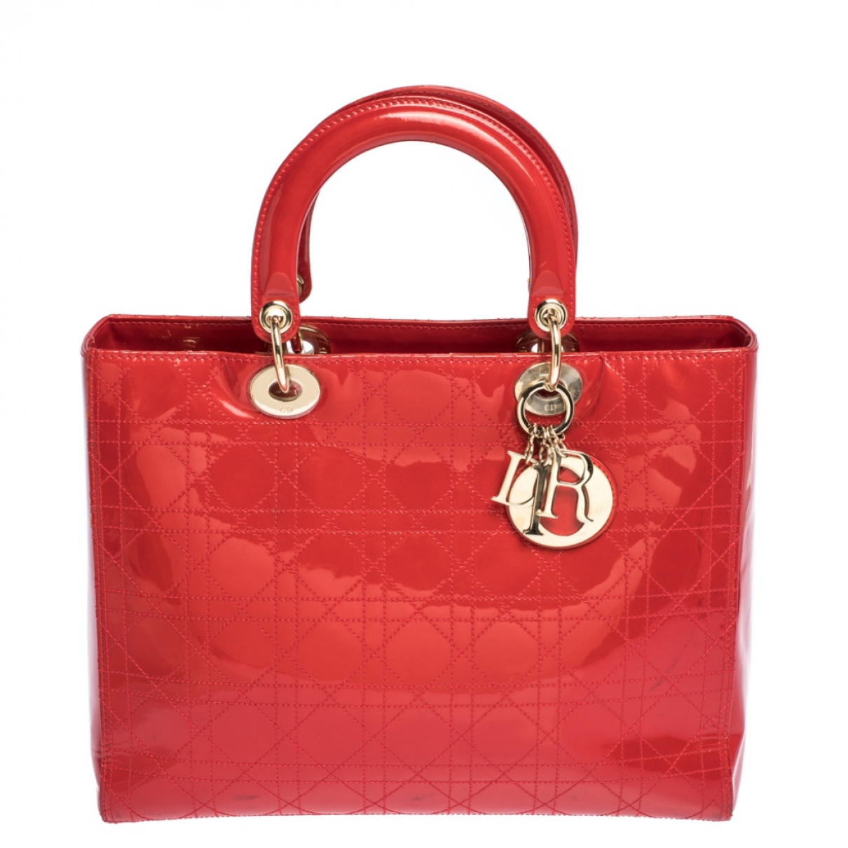 Dior Lady Dior Red Patent leather handbag for Women N