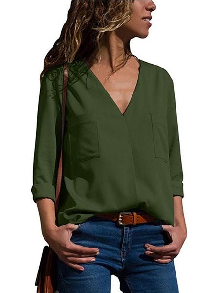 Yoins Button Design V-neck Blouse