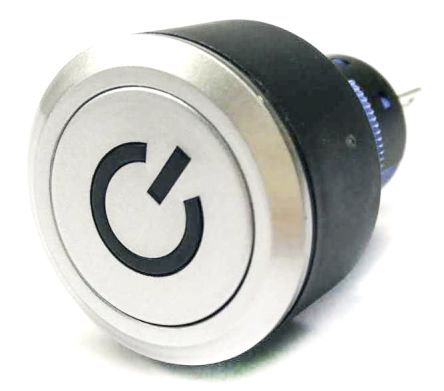 RS PRO Single Pole Double Throw (SPDT) Push Button Switch, IP65, 22.2 (Dia.)mm, Panel Mount, Power Symbol, 250V ac (20)