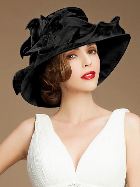 Milanoo Vintage White Hat Women's 1950s Organza Retro Hat Halloween