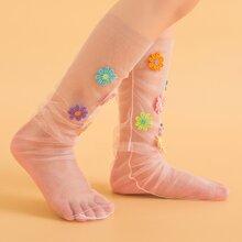 Maedchen Socken mit Blumen Stickereien und Netzstoff