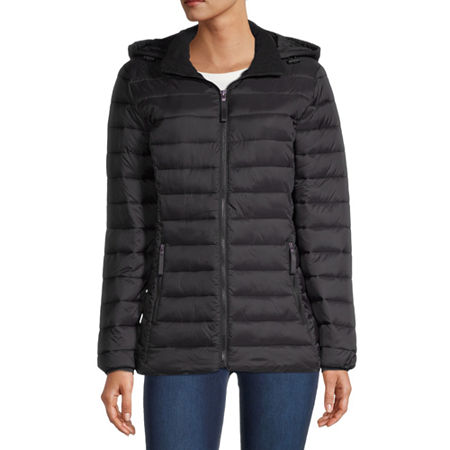 St. John's Bay Hooded Packable Lightweight Puffer Jacket, Petite Small , Black