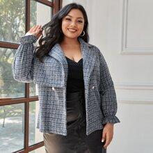 Tweed Mantel mit eingekerbtem Kragen und Raglanaermeln