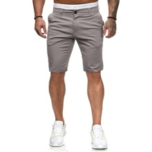 Pantalones cortos para hombre Bolsillo Liso Gris Casual