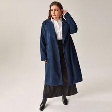 Plus Lapel Collar Open Front Split Back Overcoat