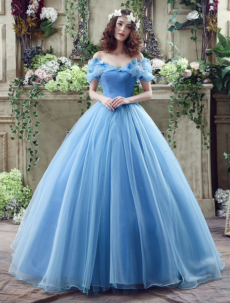 Milanoo Cinderella Dress Blue Organza Tulle Off the Shoulder Ball Gown Dress with Chapel Train