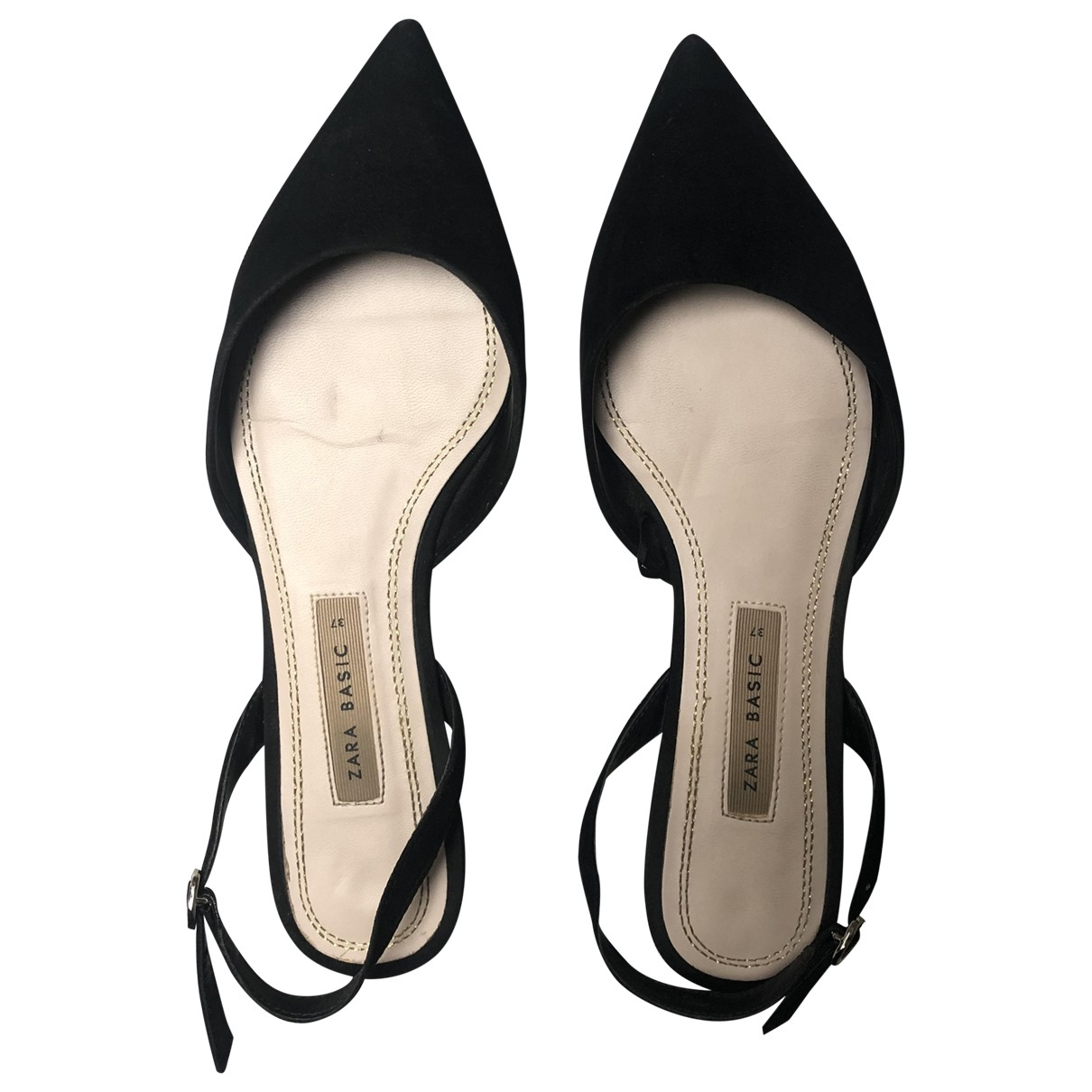 Zara - Ballerines   pour femme en suede - noir