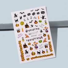 1 Blatt Nagelaufkleber mit Halloween Muster
