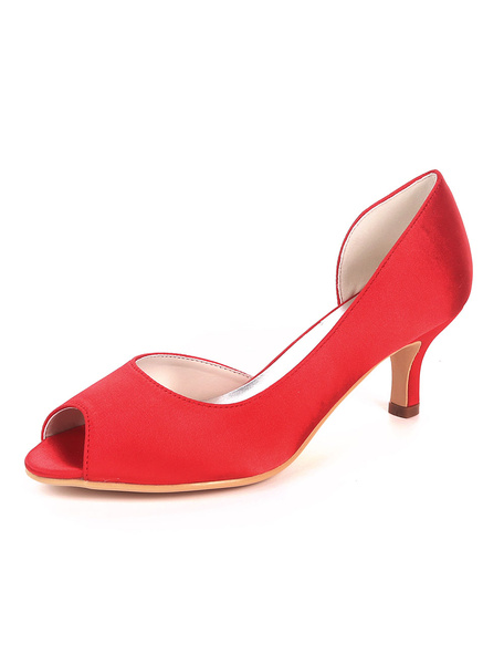 Milanoo Wedding Guest Shoes Satin Peep Toe Kitten Heel Mother Shoes Ink Blue Wedding Shoes