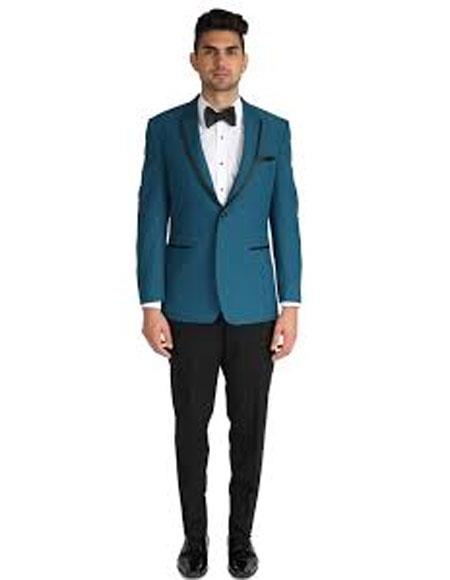 Teal Blue Tuxedo For Men