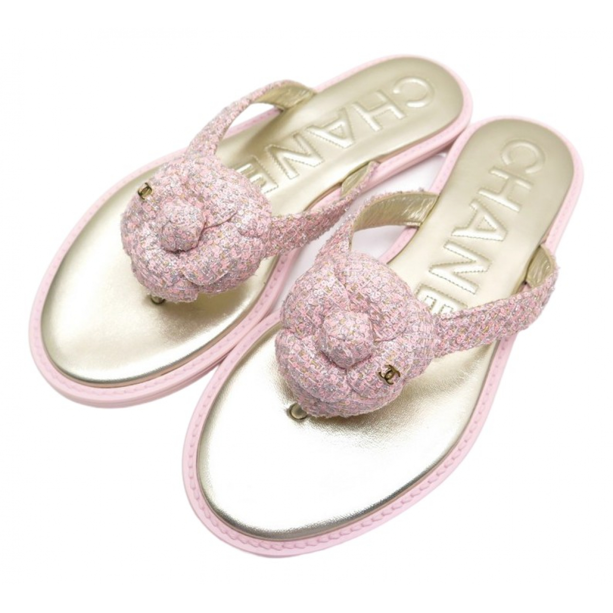Chanel \N Sandalen in  Rosa Tweed