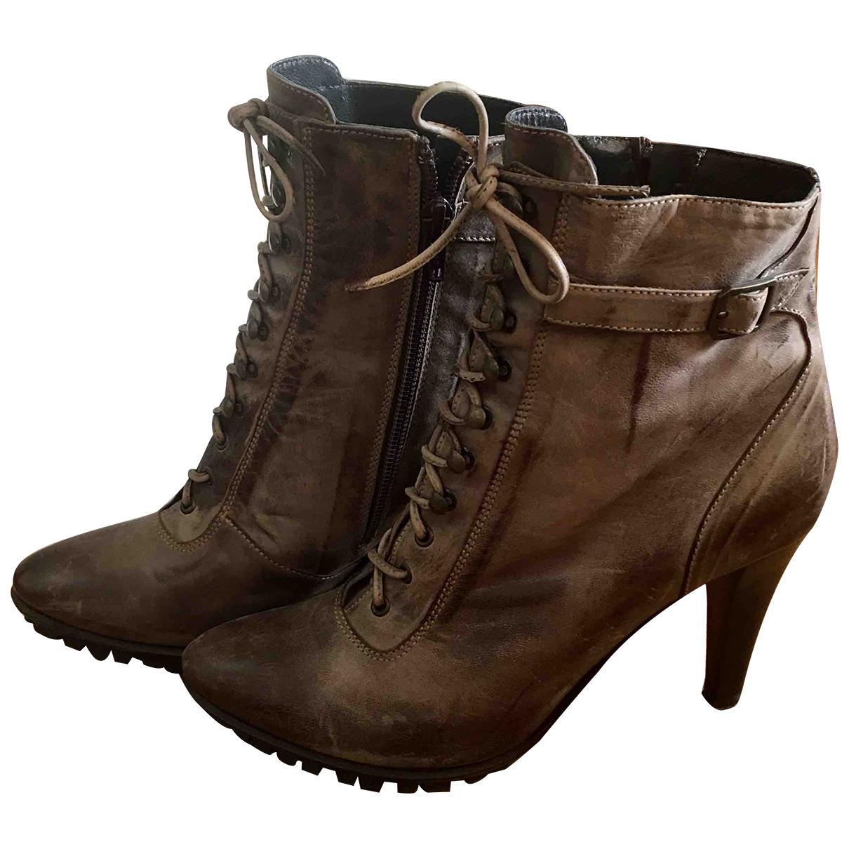 - Boots   pour femme en cuir - kaki