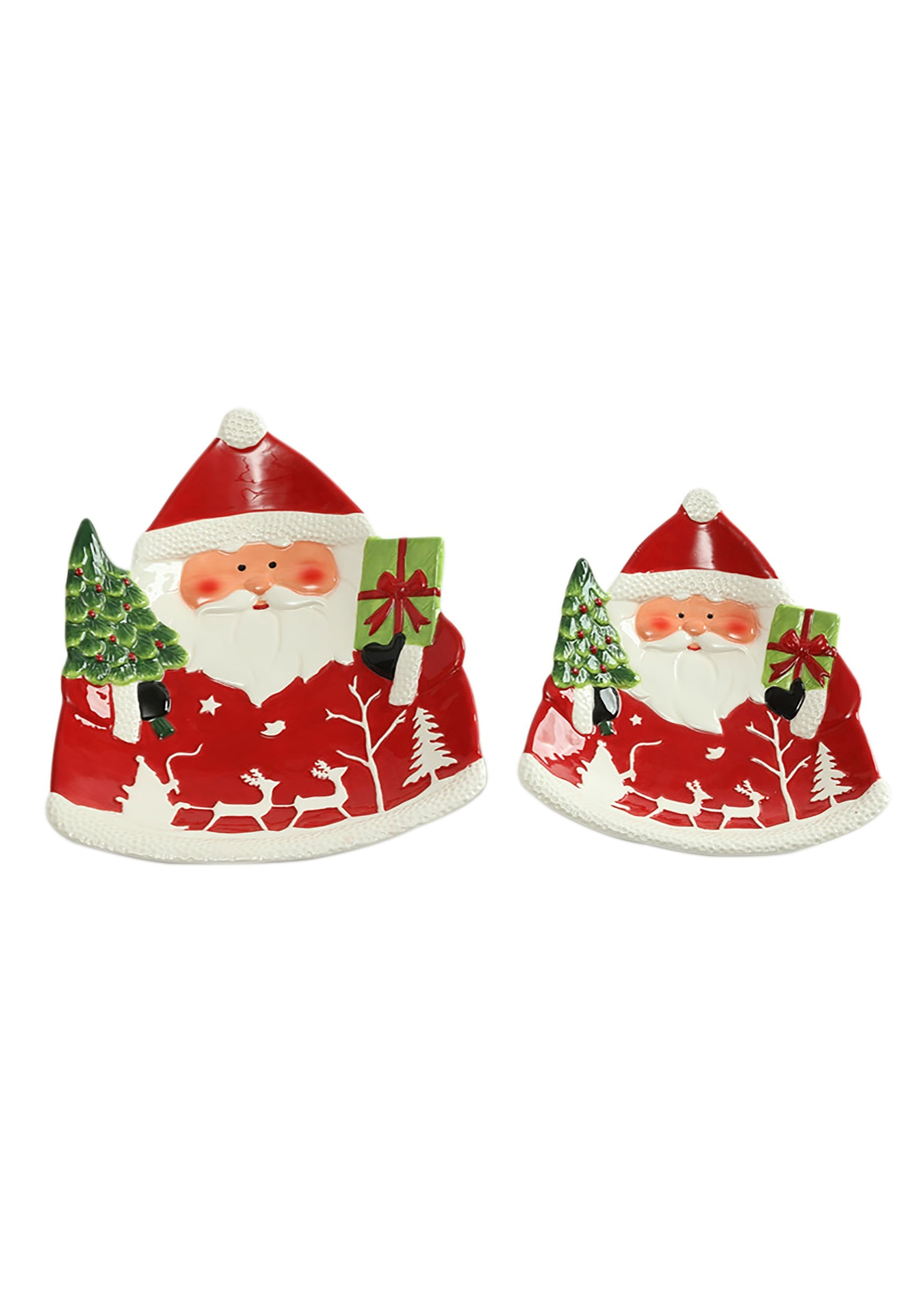 Santa Christmas Ceramic Platter Set