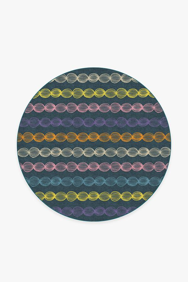 Washable Rug Cover & Pad | Gumdrops Teal Rug | Stain-Resistant | Ruggable | 6' Round