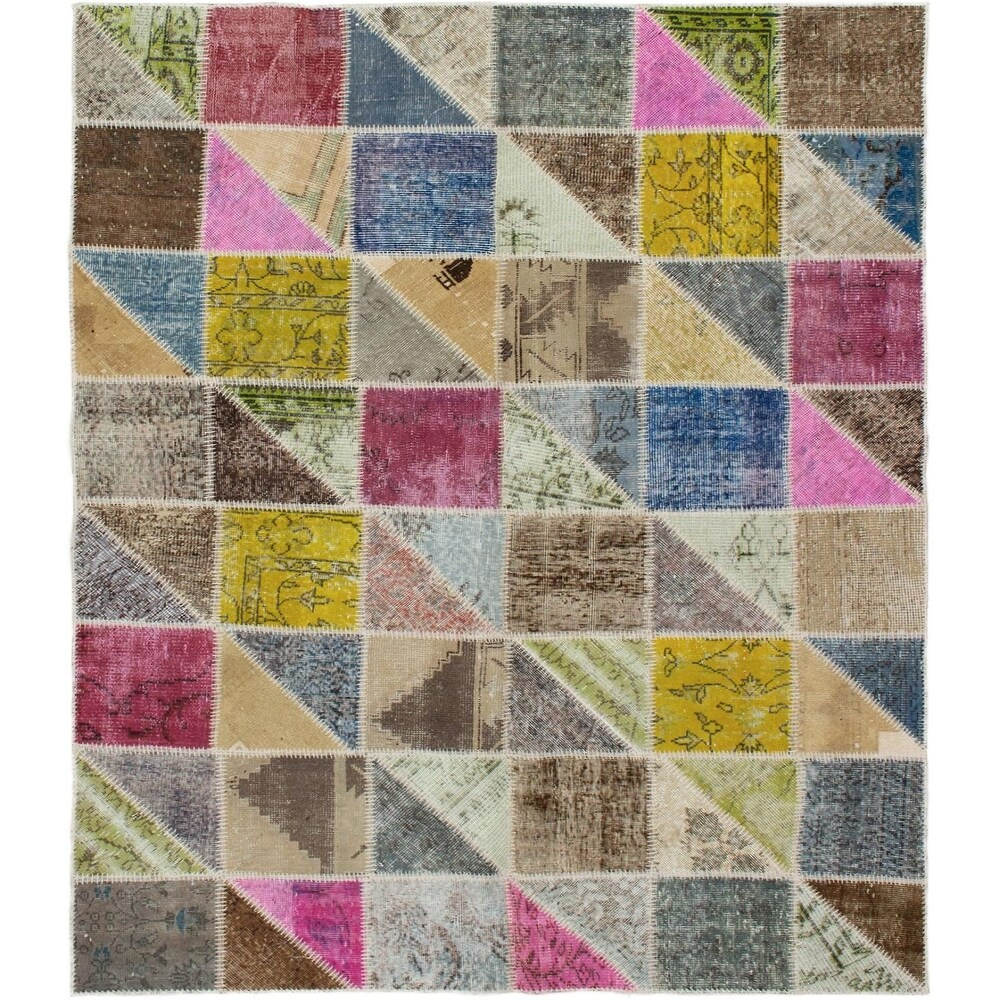 ECARPETGALLERY Hand-knotted Color Transition Patchwork Multi Wool Rug - 5'9 x 7'5 (Multi Color - 5'9 x 7'5)