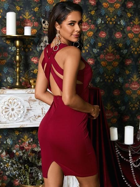 YOINS Burgundy V-neck Criss-cross Back Sleeveless Dress