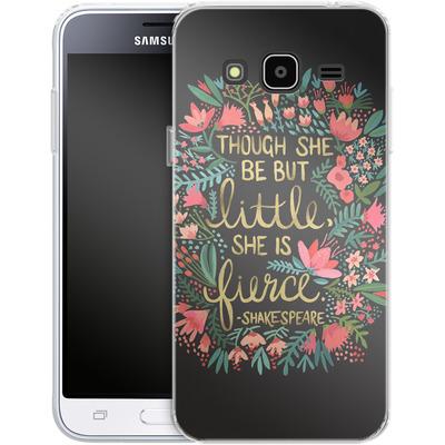 Samsung Galaxy J3 (2016) Silikon Handyhuelle - Little But Fierce Charcoal von Cat Coquillette