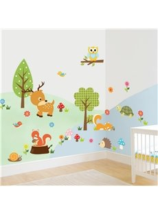 Durable Waterproof Cartoon Animals in Forest PVC Kids Room Wall Stickers