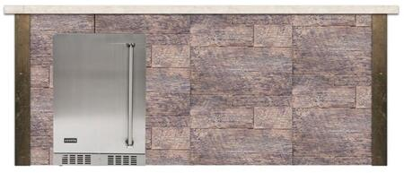 RTAC-B8F-WB 8 ft. Refrigerator Bar Island with Coyote 24 Outdoor Refrigerator  in Weathered Wood Finish with Brown Terra Color