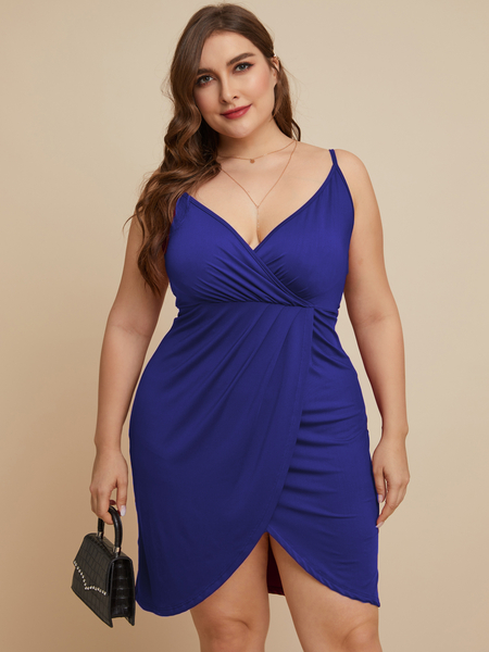 YOINS Plus Size Deep V Neck Wrap Design Sleeveless Dress
