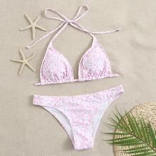 Dreieckiger Bikini Badeanzug mit Dalmatiner Muster und Band hinten