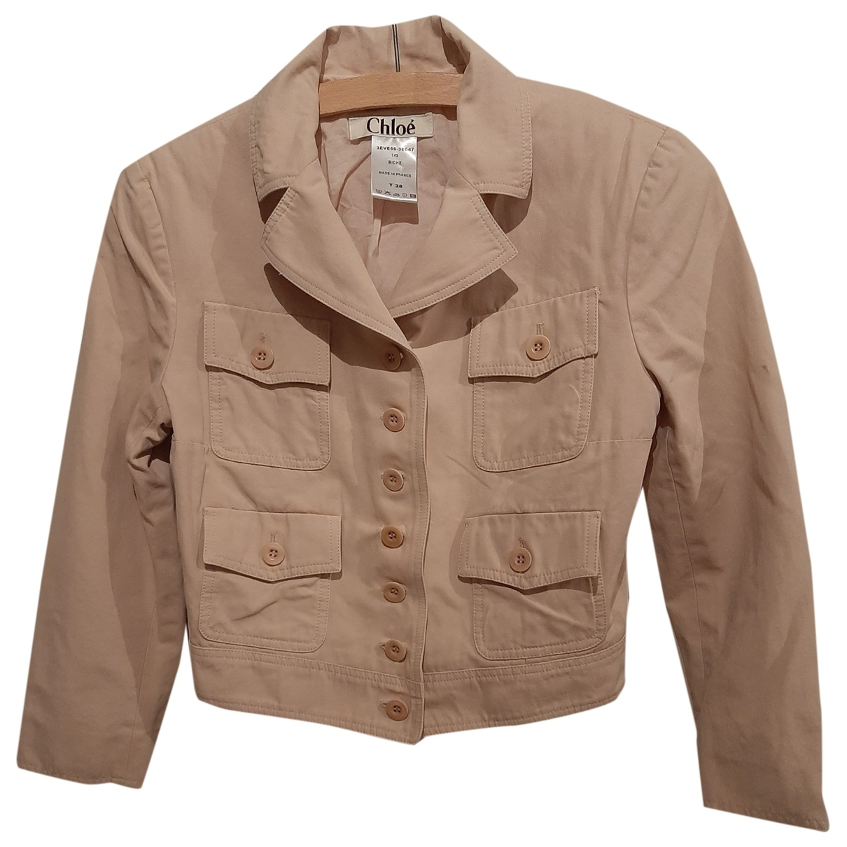Chloé \N Pink Cotton Leather jacket for Women 38 FR