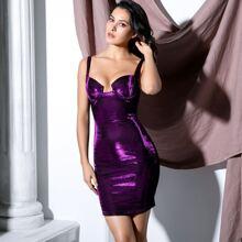 Zip Back Bustier Glitter Bodycon Dress