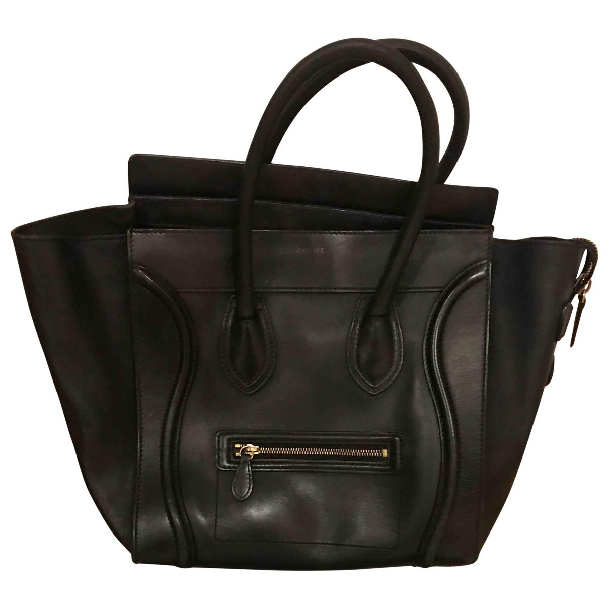 Celine - Sac a main Luggage pour femme en cuir - noir