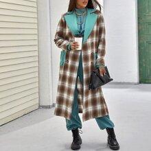 Mantel mit Karo Muster, Farbblock und zweireihigen Knopfen