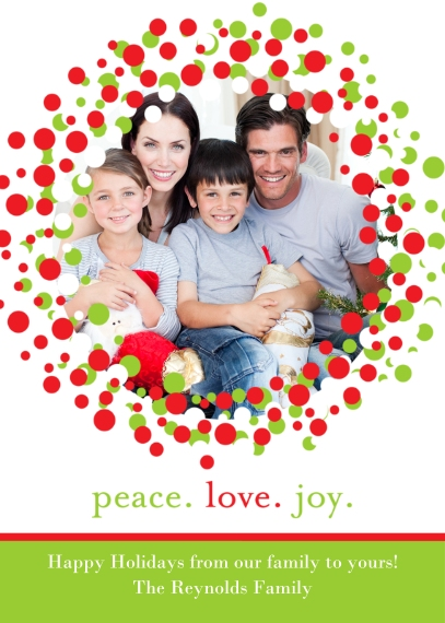 Holiday Photo Cards Flat Glossy Photo Paper Cards with Envelopes, 5x7, Card & Stationery -Posh Paper Holiday Wreath