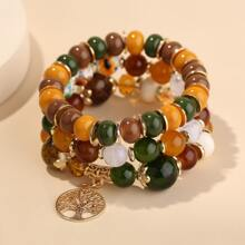 3pcs Tree Charm Beaded Bracelet