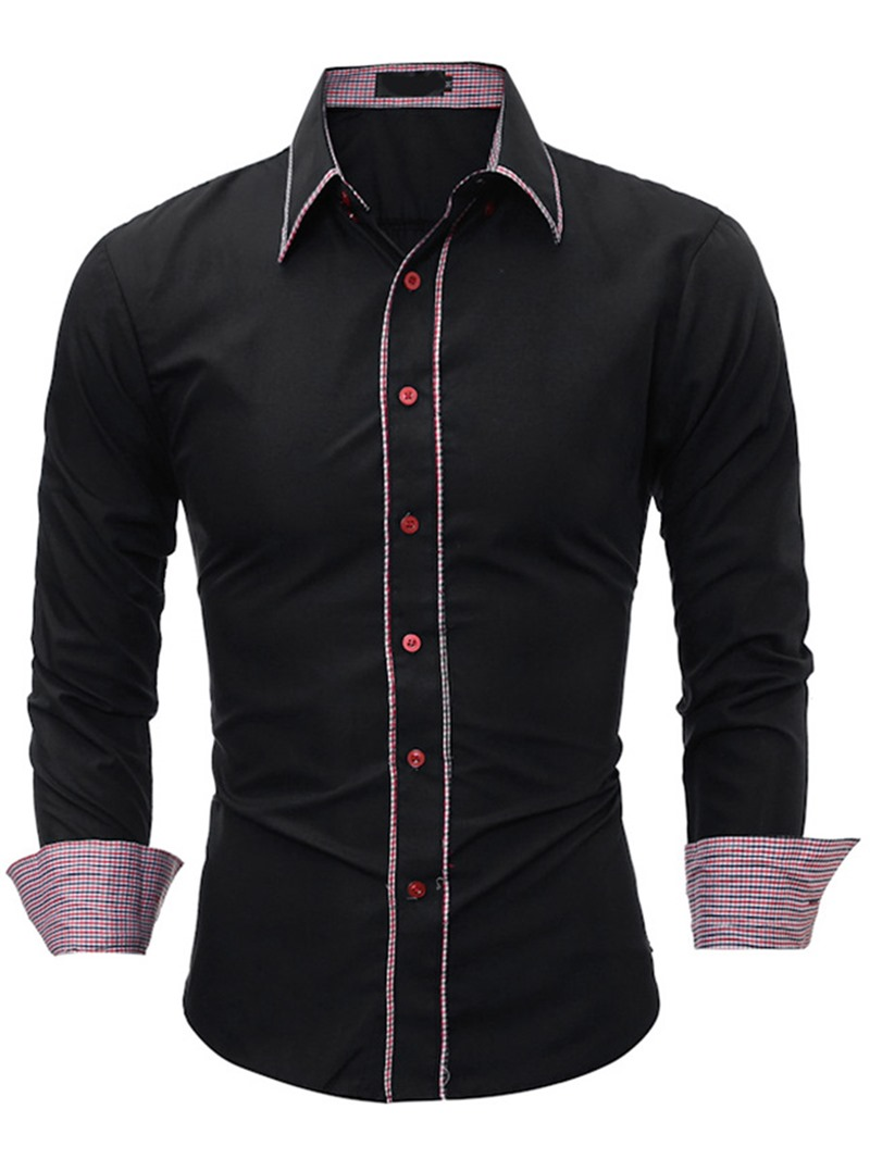 Ericdress Casual Color Block Patched Mens Shirt